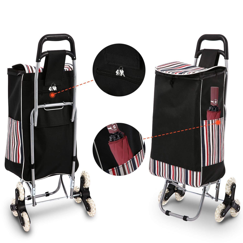 Voluker Carrito de la Compra Plegable,97 x 25 x 19 cm,2 en 1 Carro de Compra,80 kg Capacidad de Carga