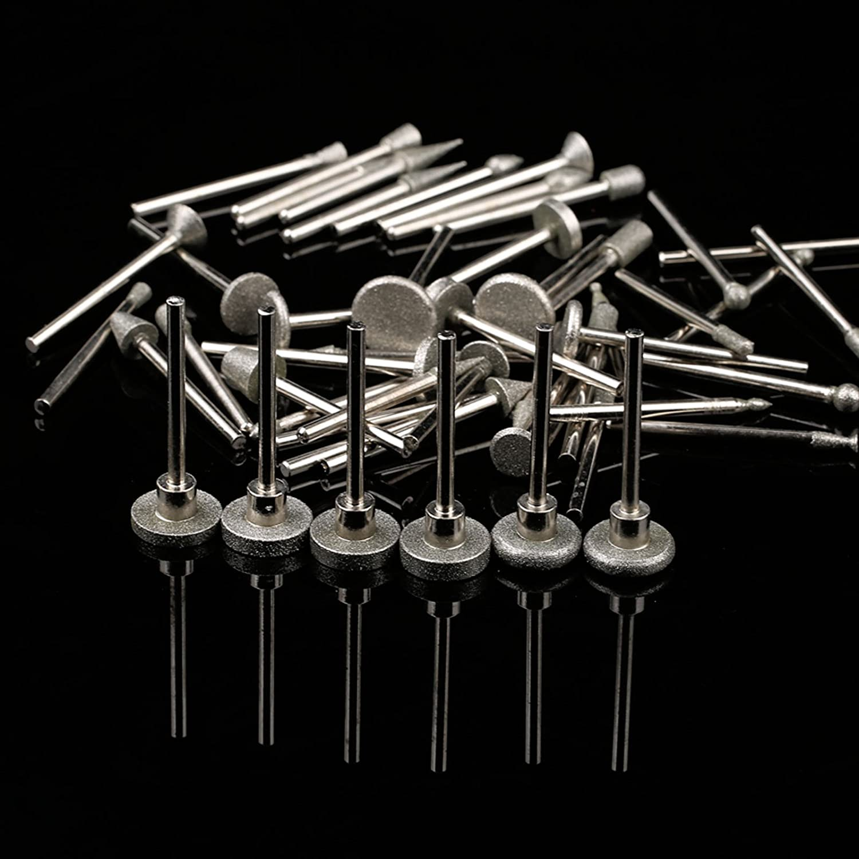 Dophee 50pcs Diamond Coated Grinding Burr Point Heads Bit 3.1mm Shank DIY Jewelry Tools