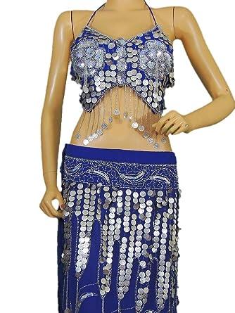 Amazon.com: Azul Danza del Vientre disfraz baile vestido ...