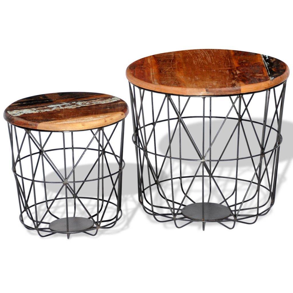 Festnight 2er-Set Kaffeetisch Set Couchtisch Sofatisch Wohnzimmertisch aus Recyceltem Holz Rund Tischplatte 35cm / 45cm Holztisch für Wohnzimmer