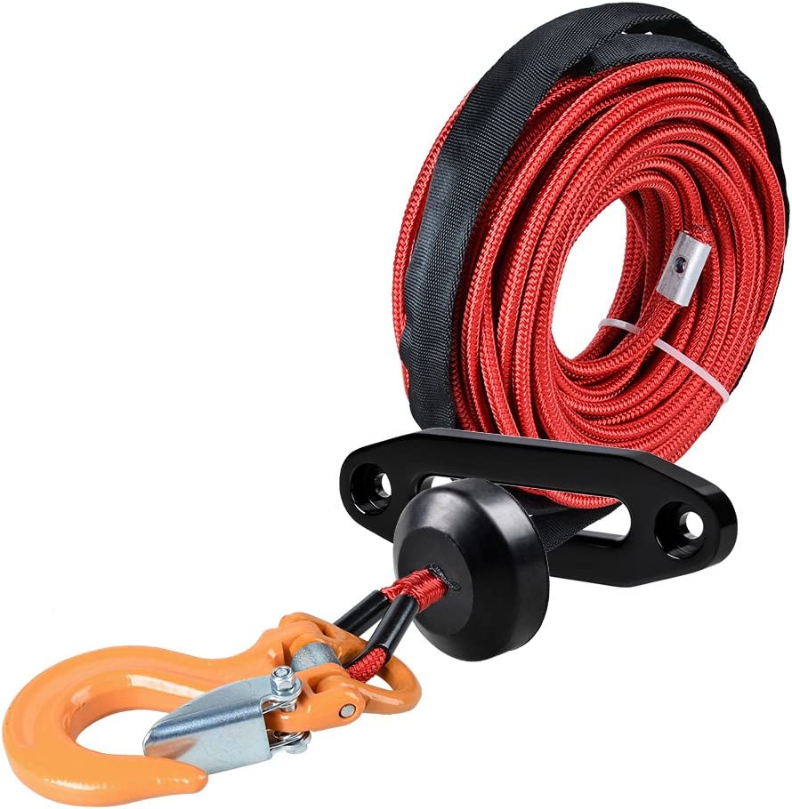 Hawse Fairlead Stopper Orange Winch + Yellow Hook, 3500lbs to 5500lbs Hoook Rock Guard Sheath Anzio 1//4 x 50 Winch Cable Rope 7000+ LBs