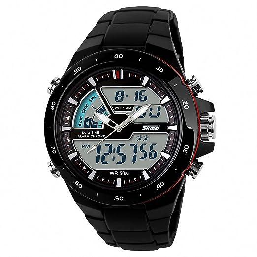 Skmei nuevos hombres deportes Digital reloj correa de resina Resistente al agua negro rojo + caja: SKMEI: Amazon.es: Relojes