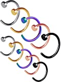 Stainless Steel Nose Ring Hoop Nose Stud Body Jewelry Piercing, 20 Gauge, 10 Pieces