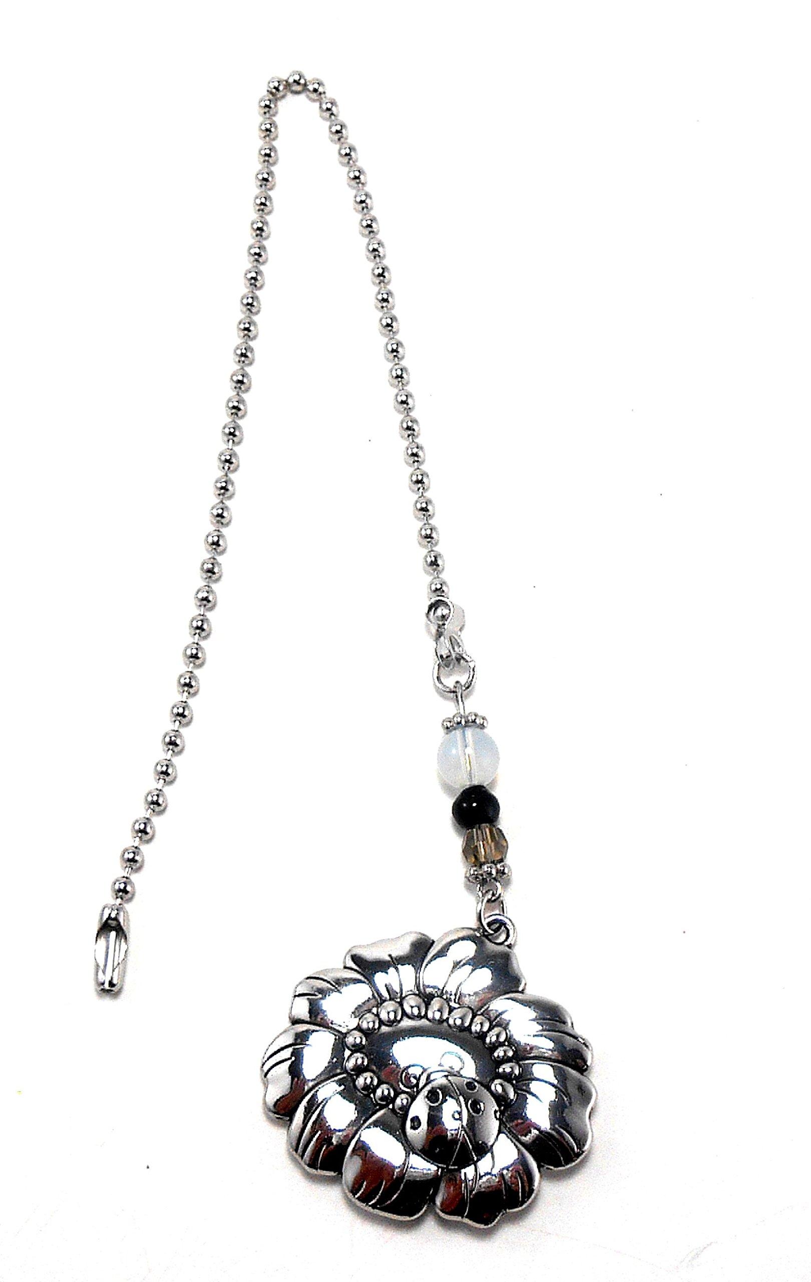 Silver Fan Pull From Ganz - Ladybug & Flower by Ganz (Image #1)