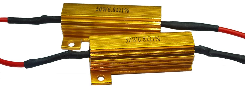 2 x LASTWIDERSTAND 50 Watt 10 ohm + Kabelklemmen für LED SMD ...