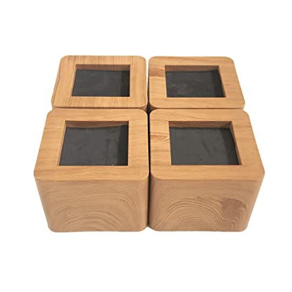 Miix Hoom 3 Inch Heavy Duty Original Wood Colored Abs Bed Risers 4pcs Bed Desk Couch Chair Sofa Furniture Riserlift Strongest Wont