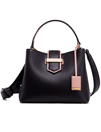 LA FESTIN Leather Bucket Handbags for Women Popular Hit Colors with  Shoulder Strap - Black 6a08b1ce85294