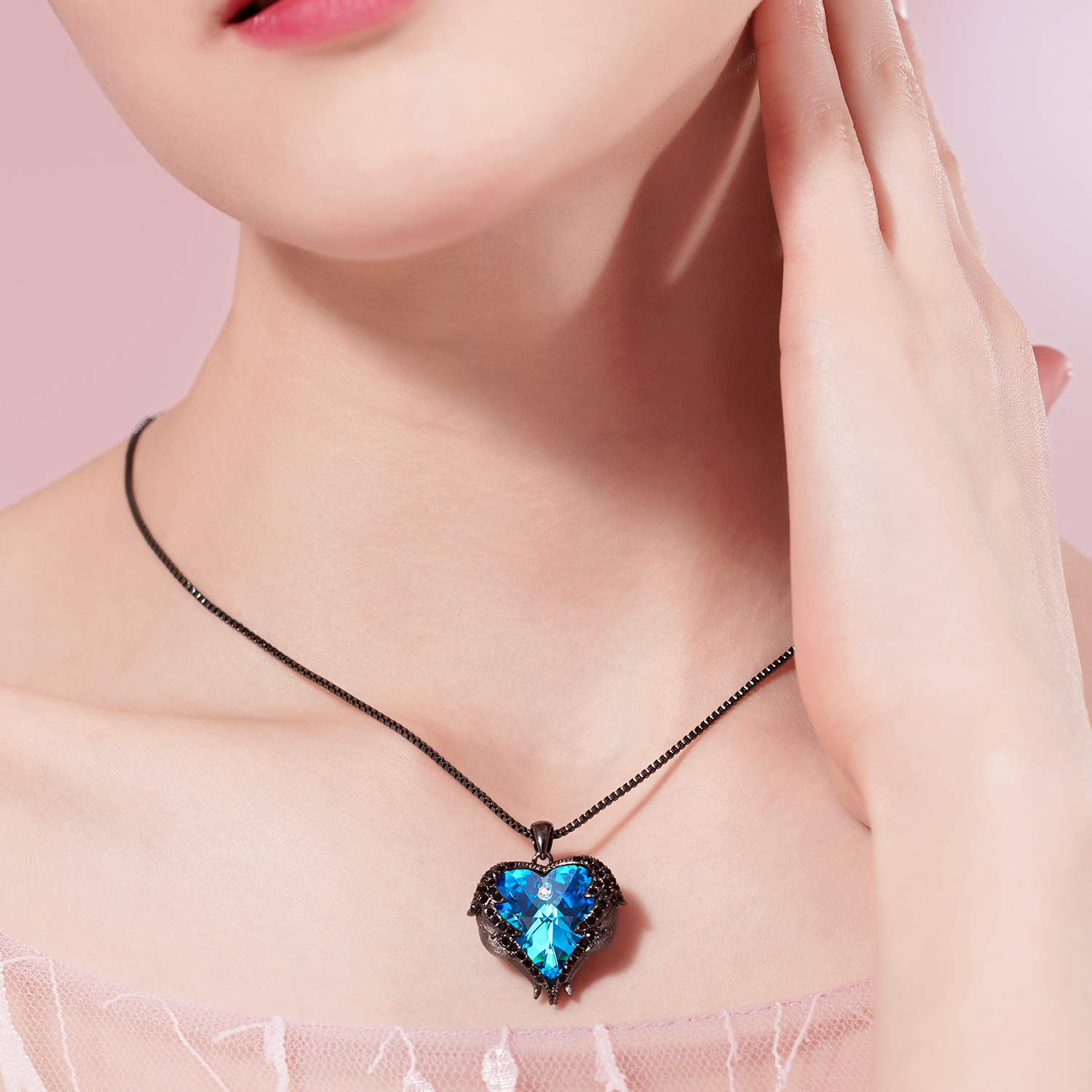 Gift for Her CDE Dark Angel Wing Pendant Necklace Swarovski Red Heart Crystal Necklaces