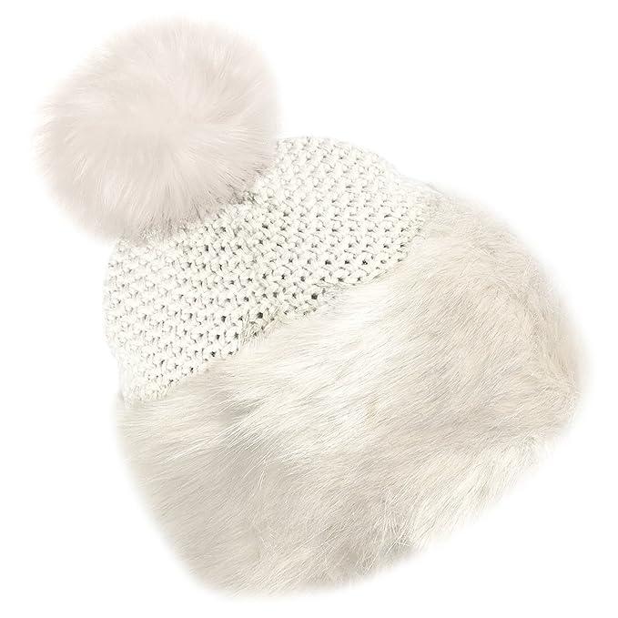 e0cafc6590c TOSKATOK Ladies Warm Faux Fur Knitted Bobble Beanie Hat Pom Pom Cossack  Russian Cap Soft Fleece Lining  Amazon.co.uk  Clothing