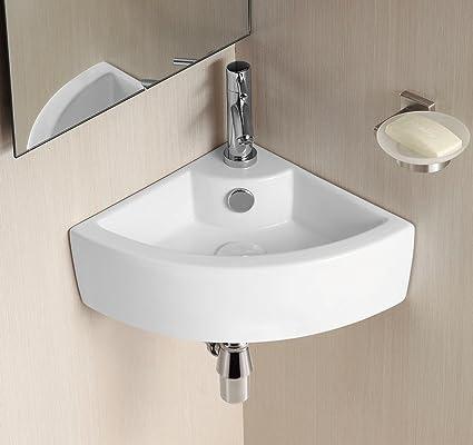 buy popular 58fb3 cf362 Palmas Wall Mounted Corner Bathroom Wash Basin