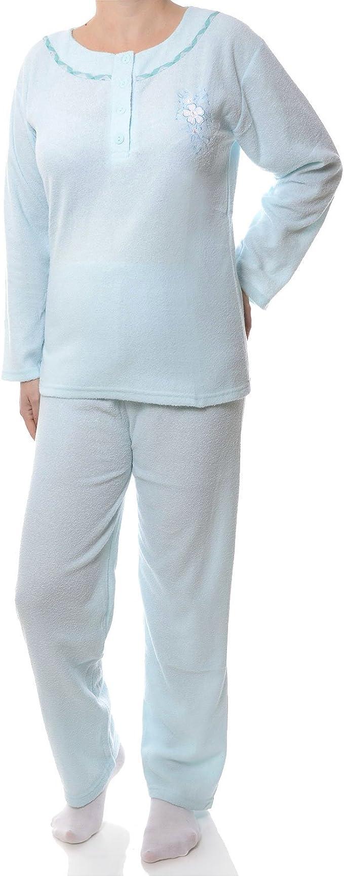 100 /% Baumwolle Damen Pyjama Set Langarm 4-teilig// Mintgrün