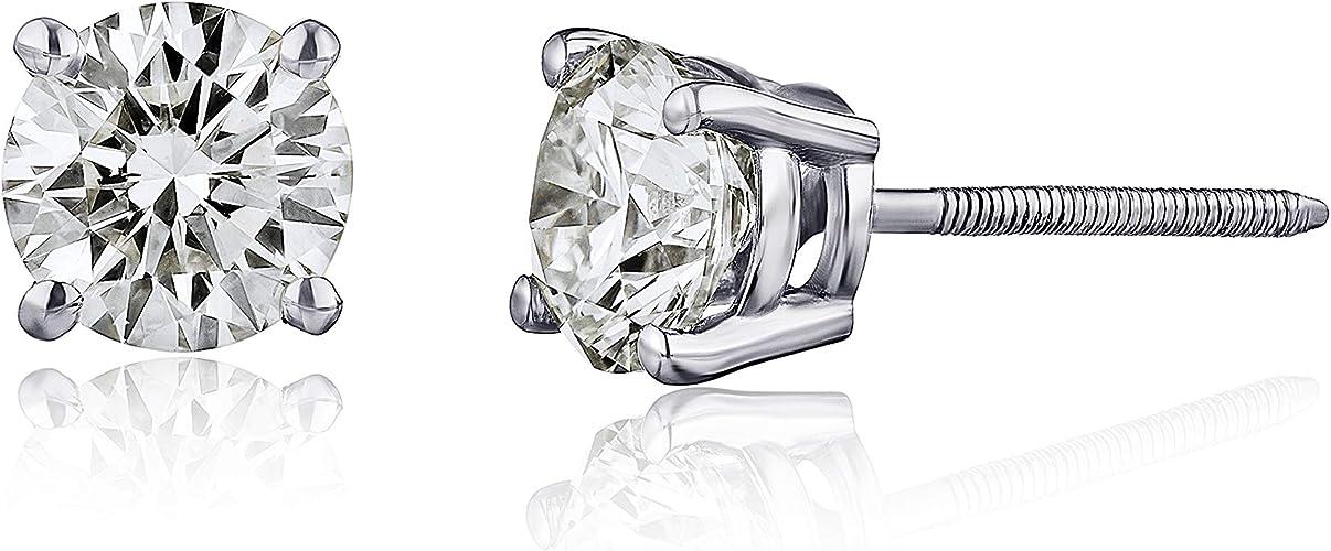 14K GH-VS  Diamond Baby Tiny Stud Earrings White Gold Screw Back 0.08 Ct