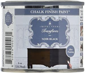 Amitha Verma Chalk Finish Paint, No Prep, One Coat, Fast Drying | DIY Makeover for Cabinets, Furniture & More, 4 Ounce, (Noir Black)