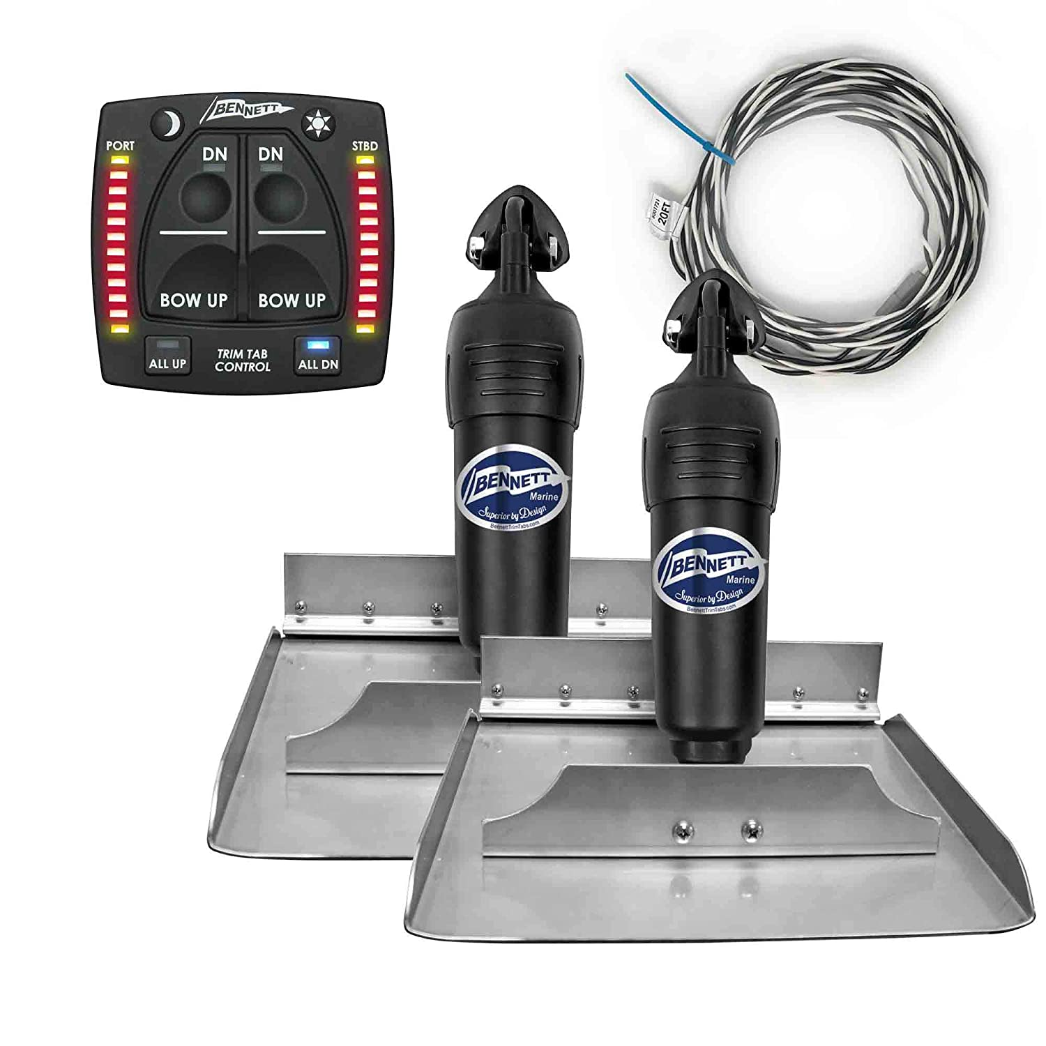 Bennett Complete Kit Bolt Electric Trim Tab (BOLT1212) with New 2020 Integrated Helm Control (OBI9000E), 12 x 12 inches FO-4321