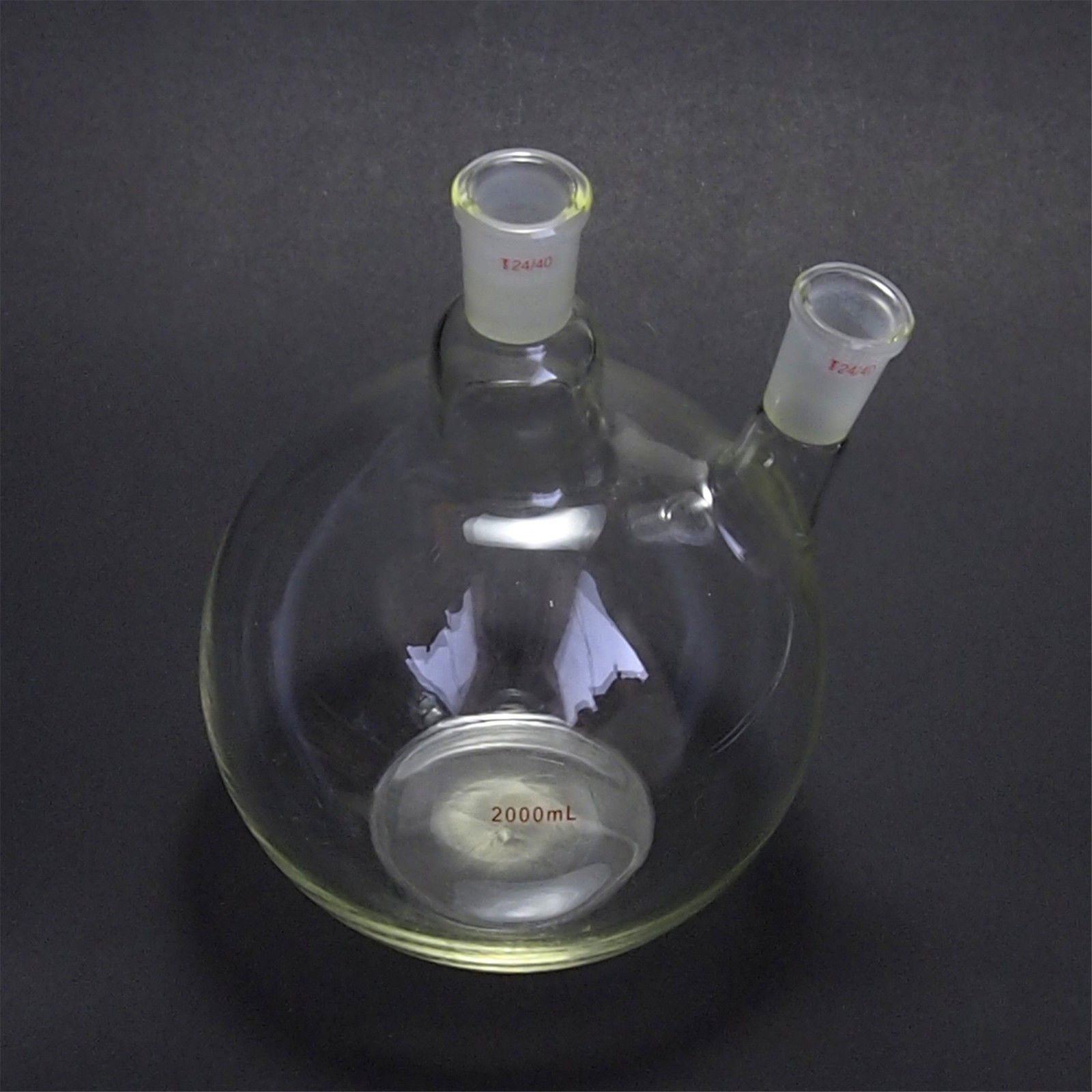 Deschem 2000ml,24/40,2-Neck,Flat Bottom Glass Flask,2L,Two Necks,Laboratory Vessel