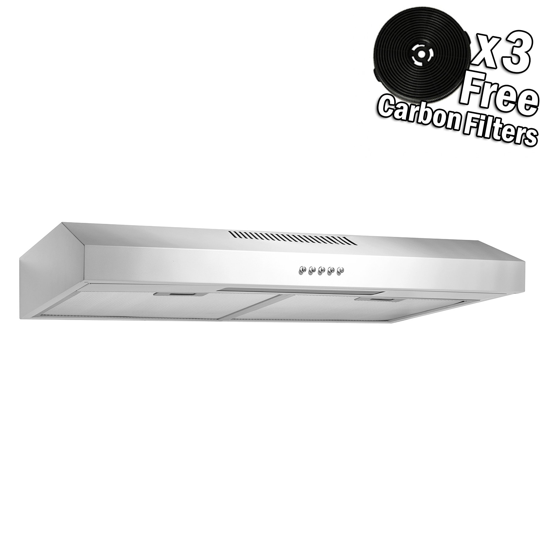 AKDY 24'' Under Cabinet White Stainless Steel Push Panel Kitchen Range Hood Cooking Fan w/Carbon Filters