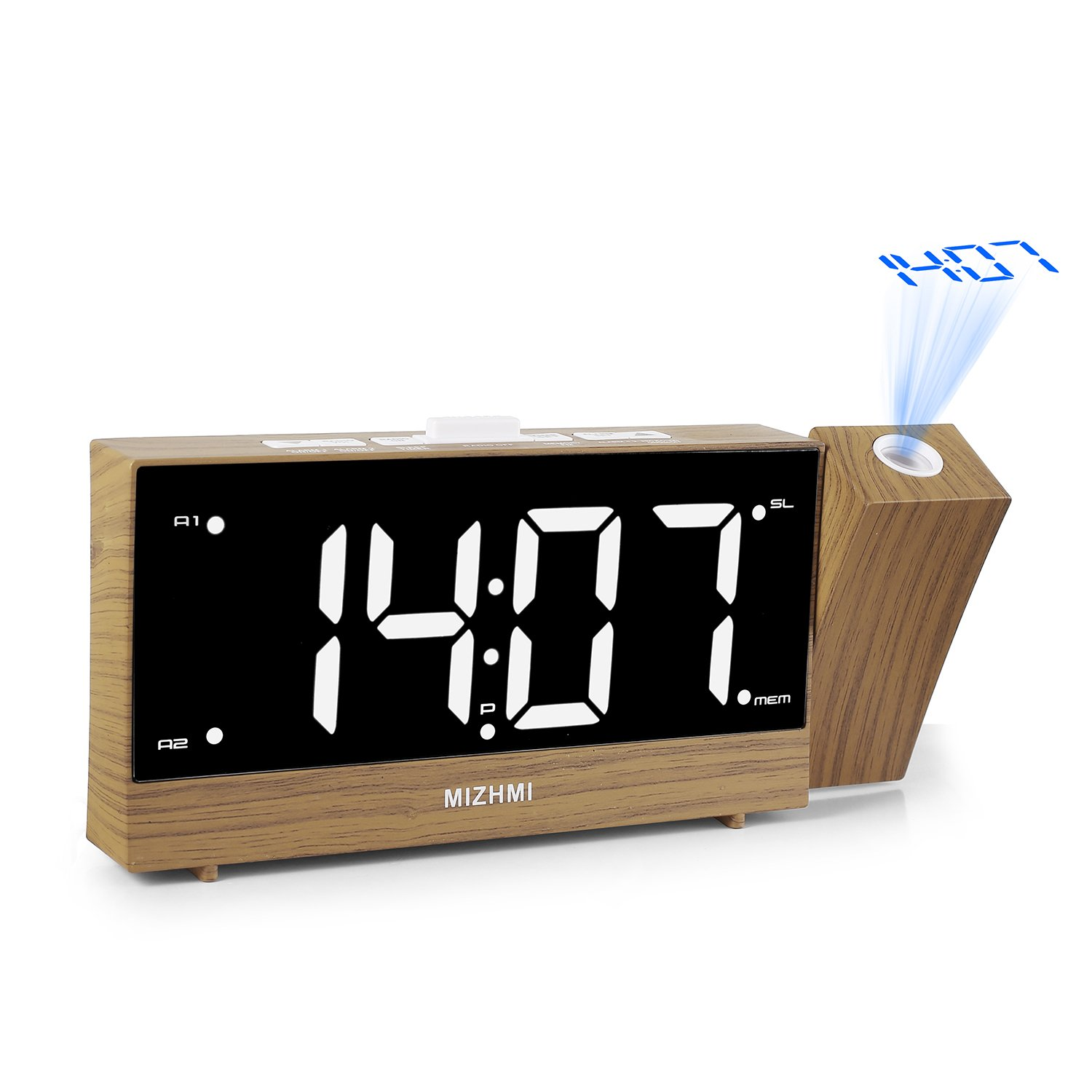 MIZHMI Projection Alarm Clock, Dual Alarms with FM Radio USB Charging Dimmer 5.5'' LED 12/24 Hour Display and Dimming Nap/Sleep Timer Snooze Function