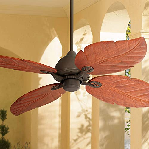 60″ Oak Creek Tropical Outdoor Ceiling Fan Oil Rubbed Bronze Walnut Wood Leaves Damp Rated