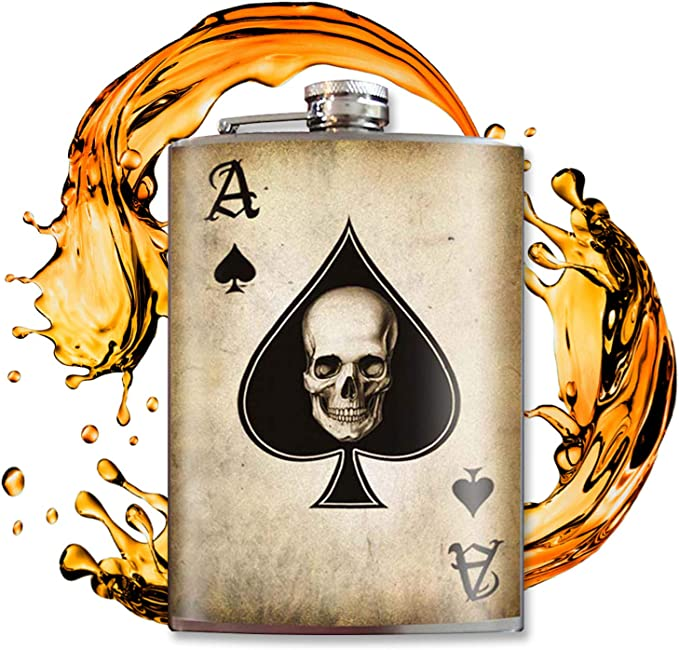 Ace Of Spades 8oz Flasks For Liquor For Men Flask For Women Stainless Steel Flask Groomsmen Gifts Whiskey Flask Alcohol Flask Hip Flask For Men Cool Gifts For Women Trixie And Milo Alcohol And Spirits Flasks Flasks Amazon Com