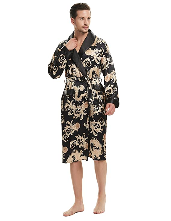 f61f3bc608 Haseil Men s Satin Robe Dragon Luxurious Silk Spa Long Sleeve House Kimono  Bathrobe at Amazon Men s Clothing store