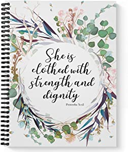 """Softcover Clothed with Strength 8.5"""" x 11"""" Religious Spiral Notebook/Journal, 120 College Ruled Pages, Durable Gloss Laminated Cover, Black Wire-o Spiral. Made in The USA"""