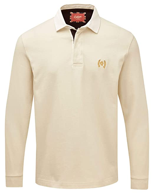 ac74bf8e0fa98c Cotton Traders Mens Long Sleeve Casual Design Regular Fit Plain Rugby Shirt  4XL Cream: Amazon.co.uk: Clothing