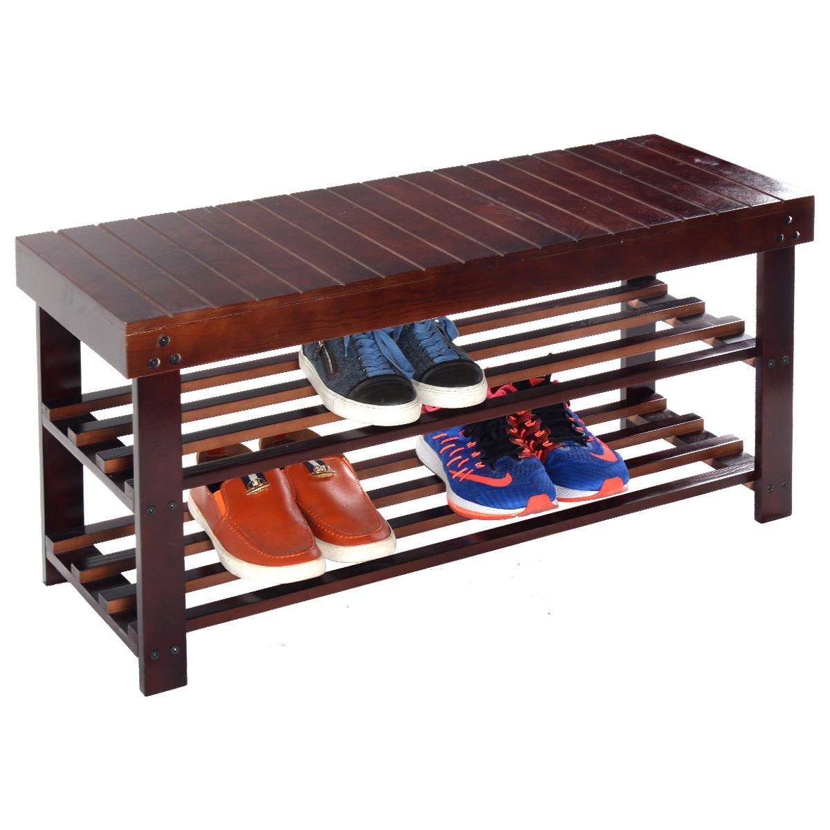New MTN-G 36'' Solid Wood Shoe Bench Storage Racks Seat Organizer Entryway Hallway Espresso