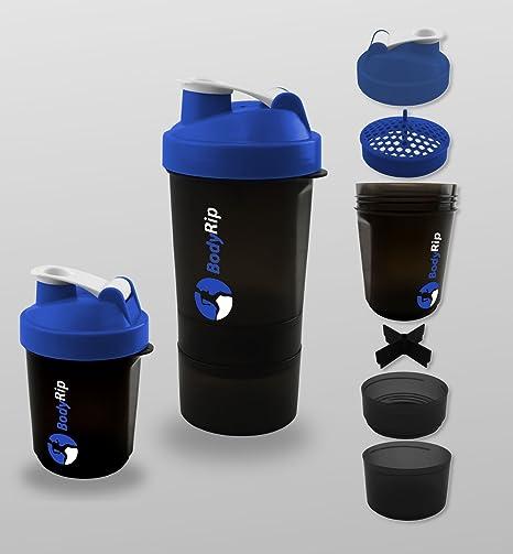 BodyRip – Proteína Coctelera 400 – 500 ml 3 Nivel mezclador, azul, 26cm x