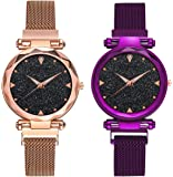 DAMIT Casual Designer Black Dial Combo of Magnet Watch - Pair of 2 - for Girls & Women - Purple & Copper