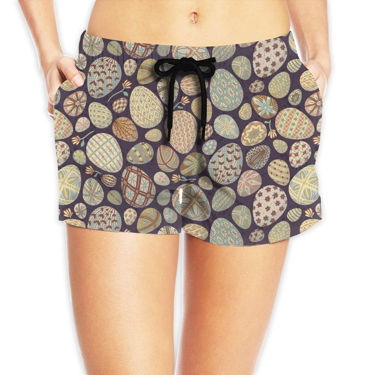 Unpredictable Painted Easter Eggs Womens Athletic Board Shorts Quickly Dry Beach Pant