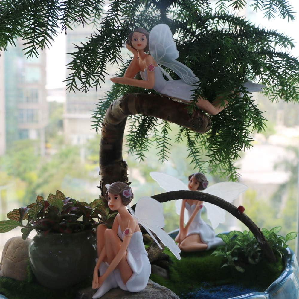 BangBangDa Miniature Fairy Garden Accessories – Small Fairies Figurines Ourdoor Gardening Decorations Statue Kit Set Kids Girls Toy Birthday Gifts