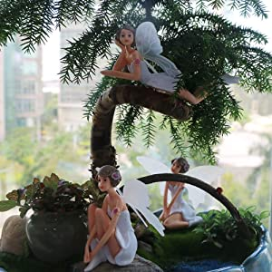BangBangDa Miniature Fairy Garden Accessories – Small Fairies Figurines Ourdoor Gardening Decorations Statue Kit Set Kids Girls Toy Birthday Gifts