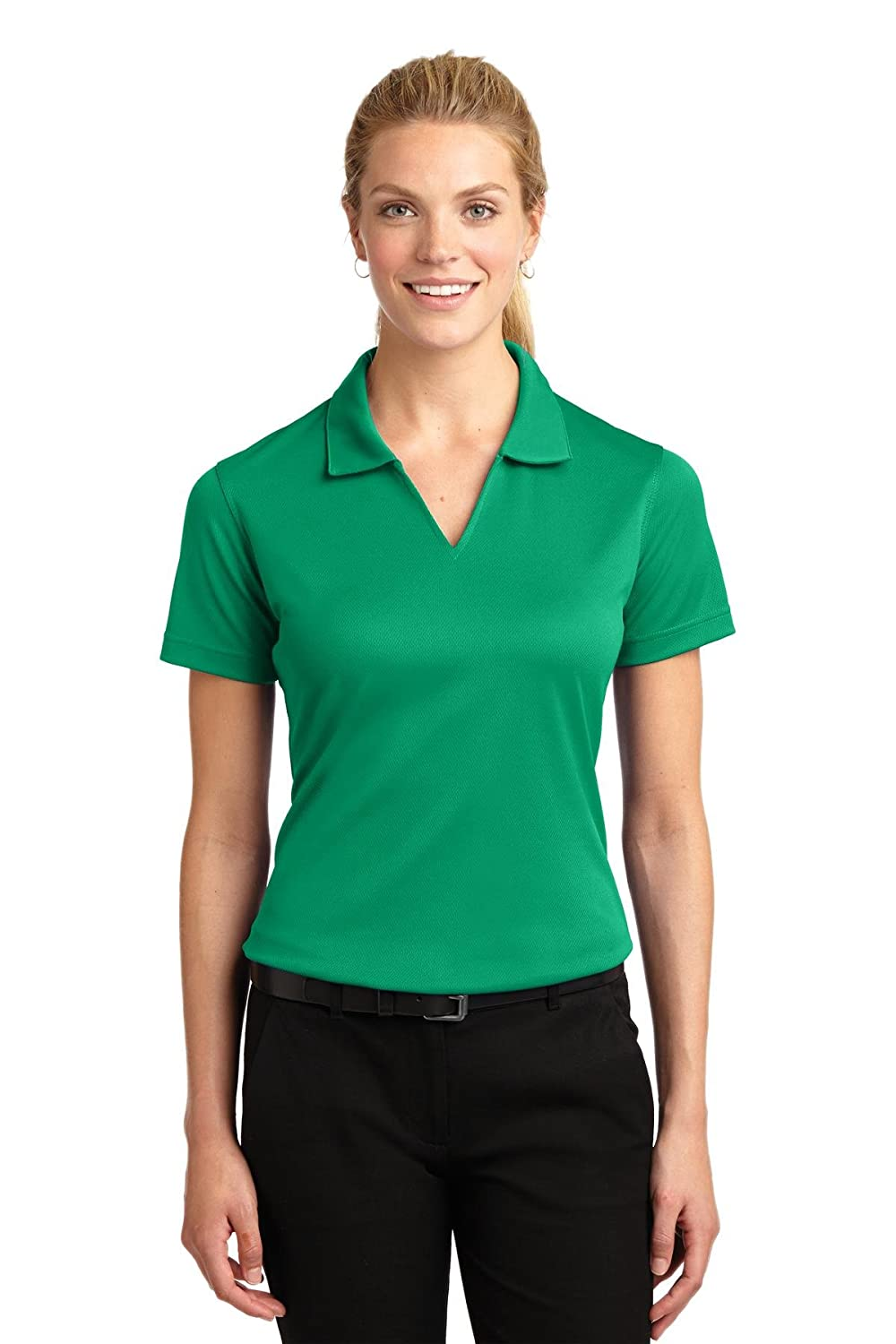 Sport-Tek Women's V Neck Lightweight Wick Moisture Polo Shirt L469