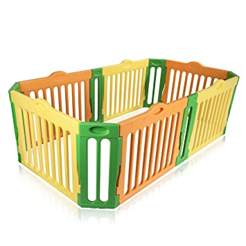Baby Vivo Baby Plastic Playpen 4 Side Rectangle Foldable Portable Room  Divider Child Kids Barrier