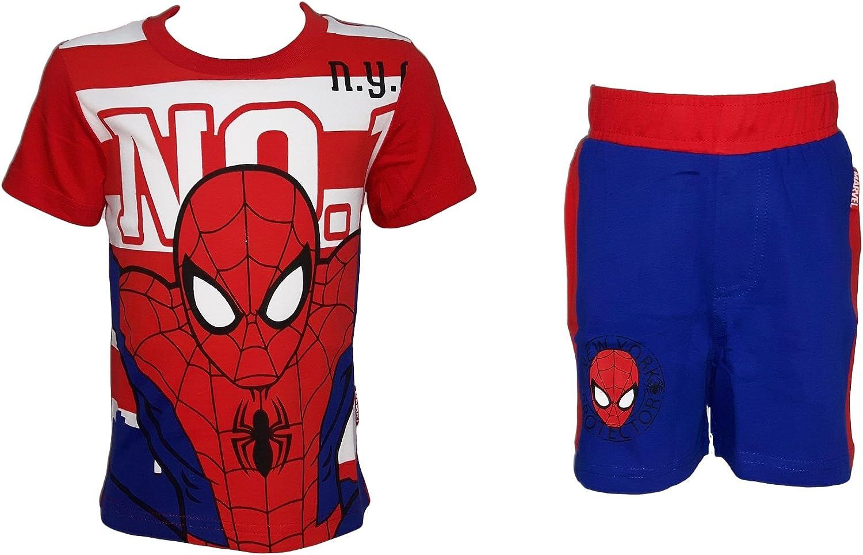 72-201 Completo Bimbo Corto Mezza Manica Puro Cotone Spiderman Marvel Art