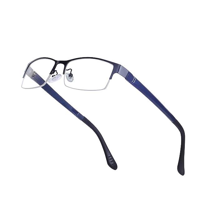 vendita uk scaricare la consegna qualità e quantità assicurate JoXiGo Mezzo Metallo Rettangolari Montatura Occhiali da Vista per Uomo  Lente Trasparente con Custodia