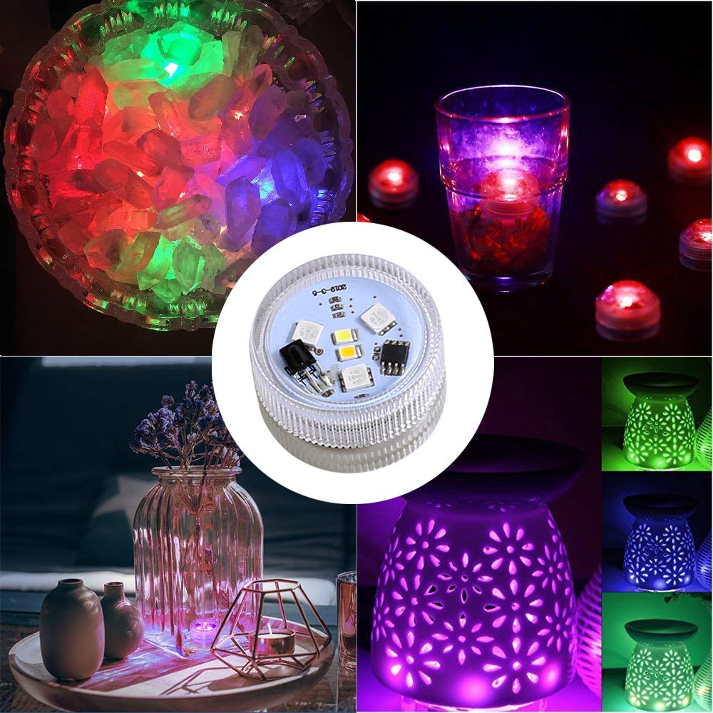 KUCAM Submersible Vase Lights, Waterproof LED Tea Lights Candle with Remote Battery Operated,RGB Color Changing for Home Party Wedding Table Centerpieces,10 Pack