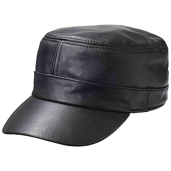 New Mens Womens Black Solid Leather Biker Flat Cap Adjustable ... b112e521106
