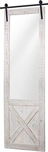 American Art D cor Whitewashed Wood Hanging Barn Door Wall Mirror