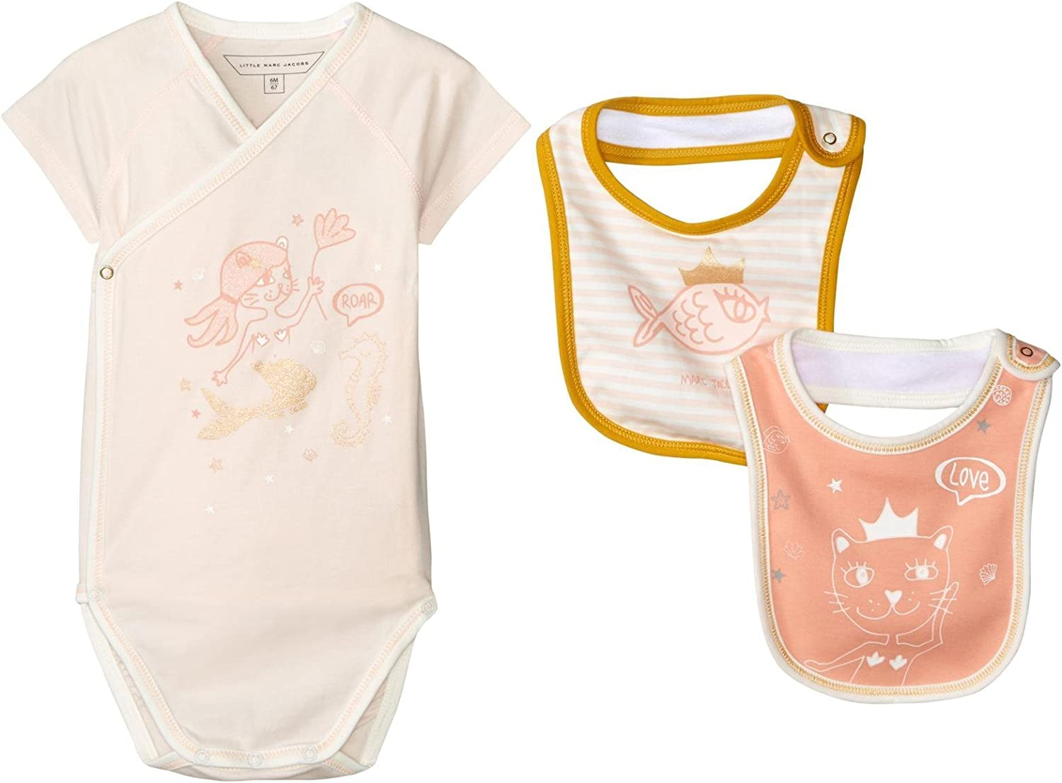 Little Marc Jacobs Baby Boys Set of Blue Bodysuit and 2 Bibs Sold with Mouse Pouch
