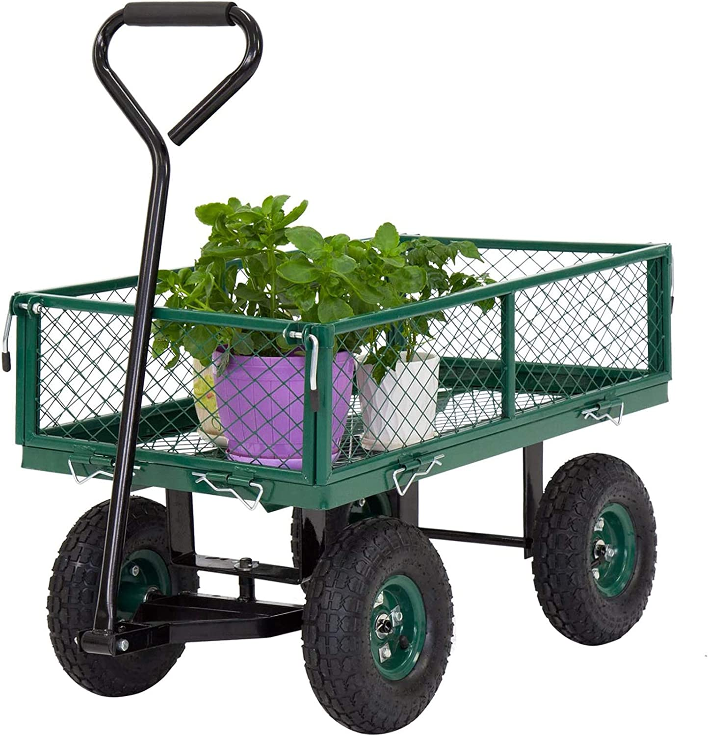 Garden Utility Cart Garden cart with Wheels with Removable Sides Outdoor Lawn Wagon Heavy-Duty 650 lbs Capacity, Green