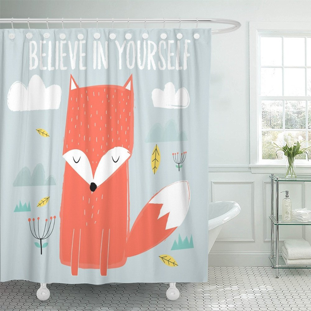 Emvency Shower Curtain Polyester Print 72x72 Inches Orange Animal Fox Graphics White Watercolor Baby Character Cute Funny Believe Bathroom