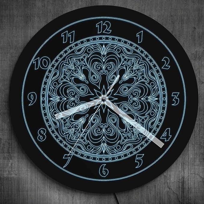 Reloj de pared blanco neón símbolo flor mandala led