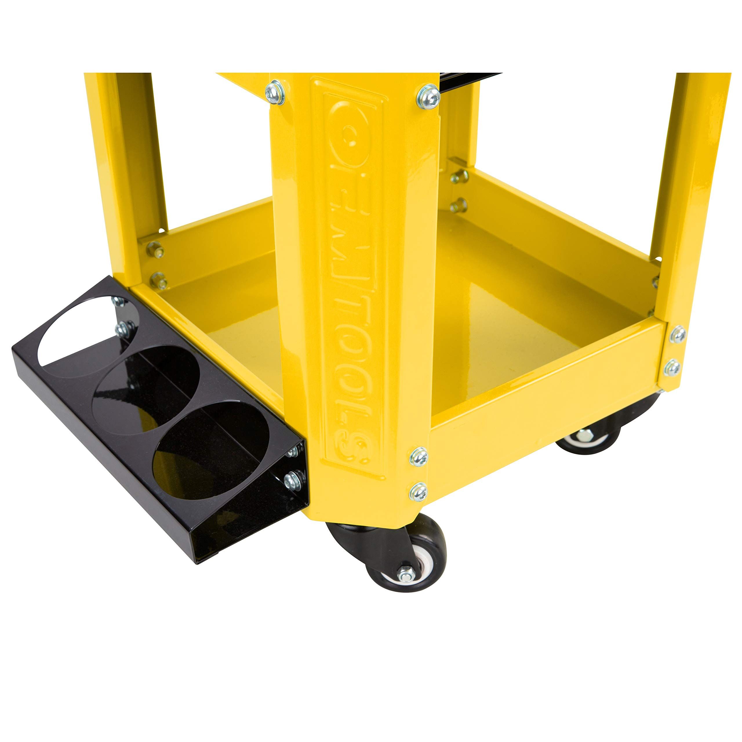 OEMTOOL 24999 Yellow Rolling Workshop Creeper Seat with 2 Tool Storage Drawers Under Seat Parts Storage Can Holders by OEMTOOLS (Image #5)