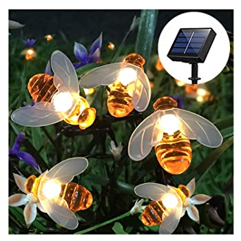 SEMILITS Outdoor Solar Honey Bees String Lights