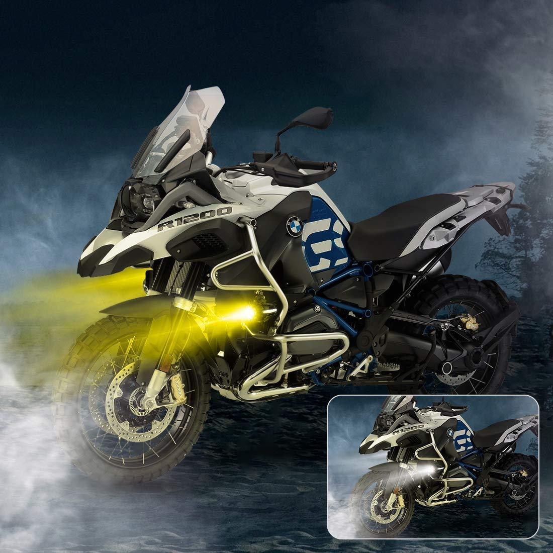 2 St/ücke 40 Watt LED Zusatzlampe 6000 Karat Blitzlicht Nebelscheinwerfer Kits mit Bernstein Blinker DRL F/ür Motorrad R1200GS F800GS K1600 HONDA Harley Davidson