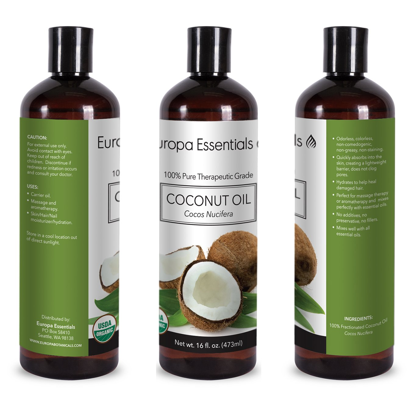Amazon.com : Europa Essentials 100% PURE ORGANIC Undiluted Fractionated Coconut Oil, Therapeutic Grade Multi-Use Carrier Oil for Essential Oils, ...