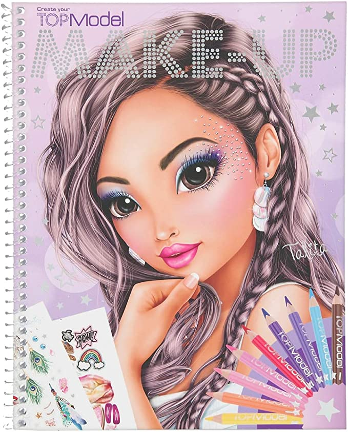 Top Model with Stencils Depesche 11253 Colouring Special Design Book 29.5 x 23.7 x 1.5 cm Pattern Sheet and Many Accessories Approx