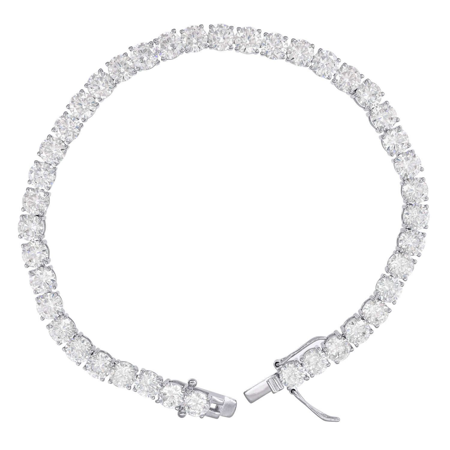Jewels By Lux 925 Sterling Silver Mens Womens Unisex 4mm 9'' Cubic Zirconia CZ Tennis Bracelet