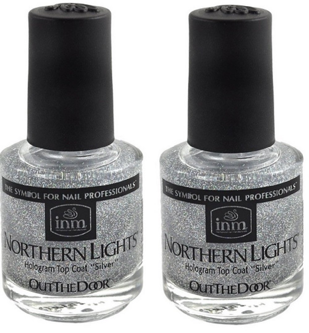 Amazon.com: INM Northern Lights Silver Hologram Top Coat, Fast ...